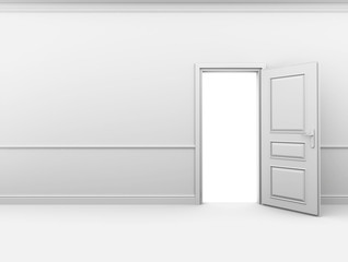 White empty room with an open door in the wall