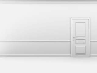 Closed door in the empty white interior