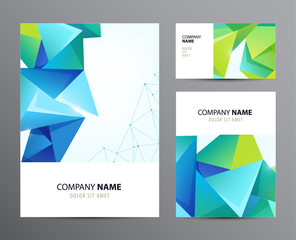 Vector set of business cards, flyers with faceted crystal 3d