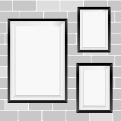 picture frame on brick wall vector