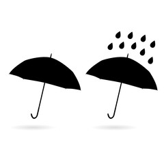 umbrella silhouette and water drop illustration