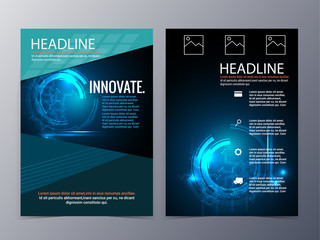business and technology brochure design template vector tri-fold