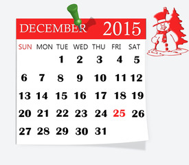 Calendar,december 2015 isolated on white background.