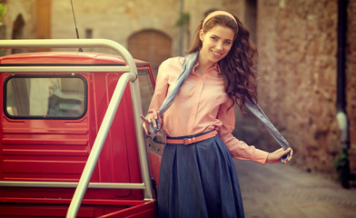 beautiful italian woman  on small old town street