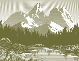 Woodcut-style illustration of a mountain lake scene.