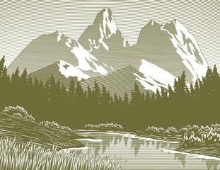Woodcut-style illustration of a mountain lake scene.
