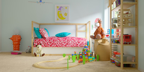 cosy modern childs room with toys