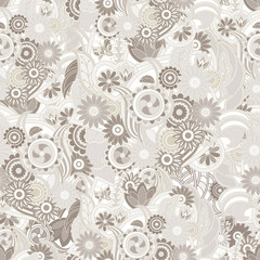 Floral pastel light brown background. Seamless texture with flow