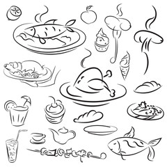 Set food and drinks sketch. Doodles collection mangal menu and d