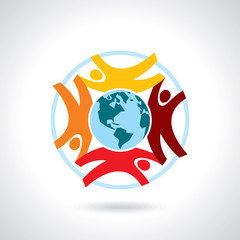 Earth Globe with people teamwork concept