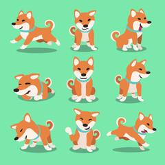 Cartoon character shiba inu dog poses