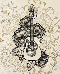 acoustic guitar with flower design, hand drawn illustration in vintage sepia color with black inking, cool abstract music poster or concert design concept, elaborate music art design background
