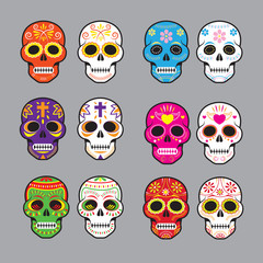Day of the Dead Skulls, Colorful Set