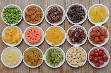 Collection of dried fruits for background