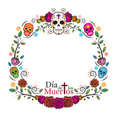 Day of the Dead Skulls Frame, with Roses, Round, Circle Shape