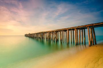 Poster Bridge Wood bridge on the sea