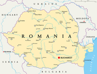 Romania political map with capital Bucharest, national borders, important cities, rivers and lakes. English labeling and scaling. Illustration.