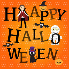 Happy Halloween background with cute little vampire  vector. ill