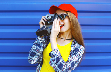 Fashion pretty cool girl wearing a colorful clothes with old ret