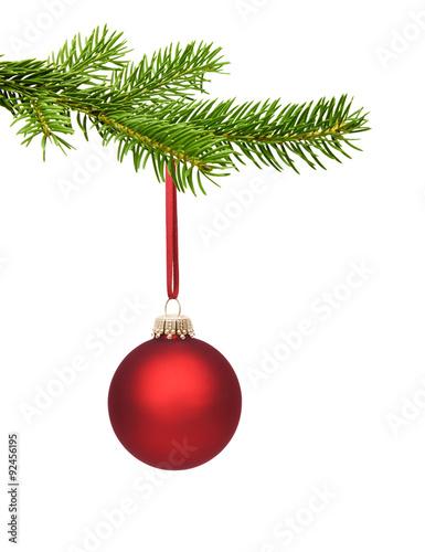 rote weihnachtskugel am tannenzweig stockfotos und lizenzfreie bilder auf bild. Black Bedroom Furniture Sets. Home Design Ideas