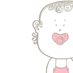 Baby's pacifier in baby's girl's mouth