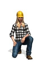construction worker woman with yellow helmet