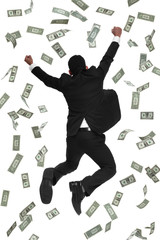 Behind view business man jumping in falling money