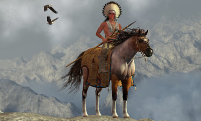 Indian Soaring Eagle -Two Bald Eagles fly near an American Indian with his paint horse on a tall cliff in a mountainous area.