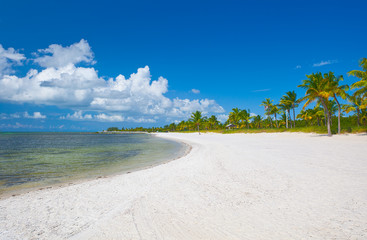 Beach in Key West Florida  near Miami with blue sky and ocean water in the background. Famous travel destination