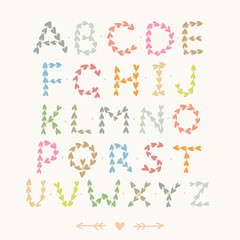 Cute hand drawn font with hearts