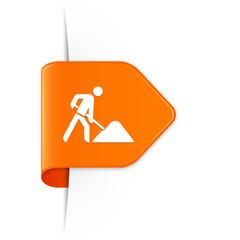 Baustelle - Orangener Sticker Pfeil mit Schatten