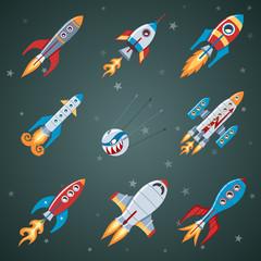 Rockets Flat Icon Set