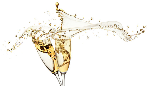 champagne splashes from glasses isolated on the white background