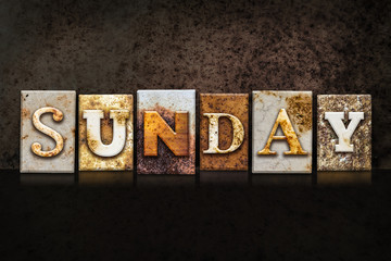 Sunday Letterpress Concept on Dark Background