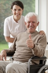Old man sitting on wheelchair
