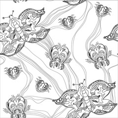 Illustration of graphic seamless pattern of fantastic butterfly