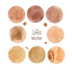 Brown  vector circles. Set of watercolor blobs, isolated on white background. Hand-painted isolated brown circles set.