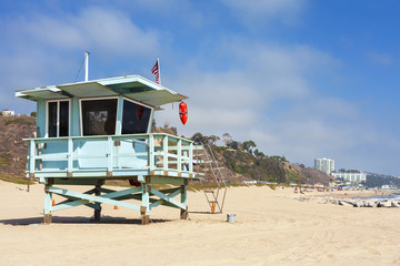 Lifeguard tower in Santa Monica, California, USA.