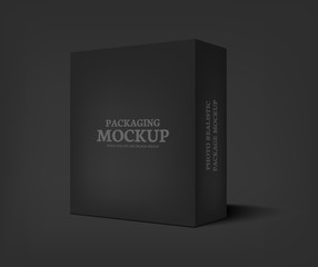 Vector realistic black box on dark gray background.