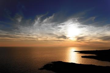 tramonto al mare vista aerea