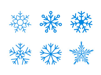 Isolated set of vector snowflakes on white background.