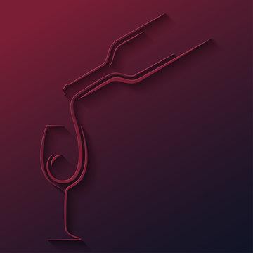 wine glass bottle paper cut vector background