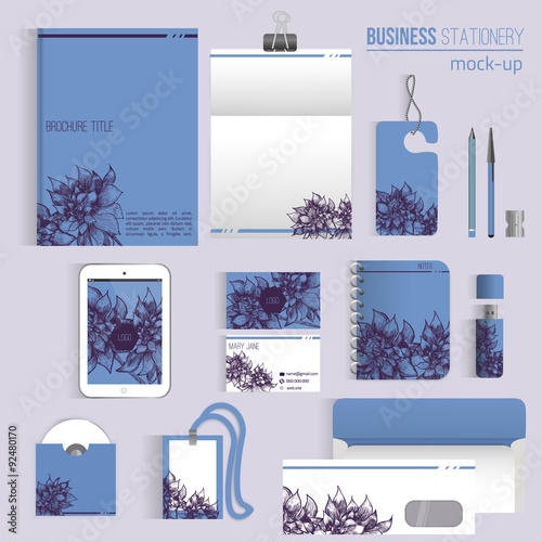 """Executive College Stationery Note Cards: """"Vector Floral Sketch Corporate Identity Set Of Stationery"""