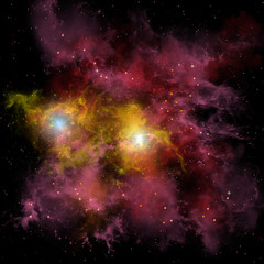 Twin Star Nebula - Two stars are locked into a tight orbit around each other which are doomed to eventually join each other into one bright star.