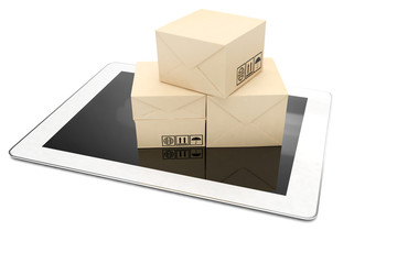Technology business concept, shipping: cardboard package boxes