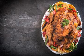 Split roasted turkey and vegetables