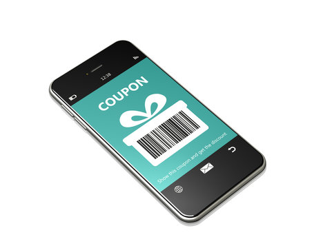 mobile phone with discount coupon over white