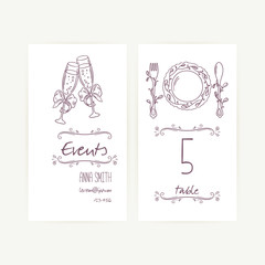 Set of wedding card templates with monochrome hand drawn table decorations