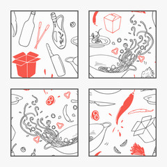 Abstract hand drawn wok restaurant elements poster for your design. Doodle asian food