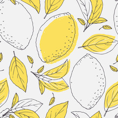 Estores personalizados con tu foto Outline seamless pattern with hand drawn lemon and leaves. Doodle fruit for package or kitchen design